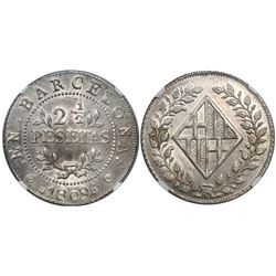Barcelona, Spain, 2-1/2 pesetas, Joseph Napoleon, 1809, encapsulated NGC MS 62, CT Cover Coin.
