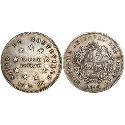 Uruguay, 1 peso fuerte, 1844, coin rotation.