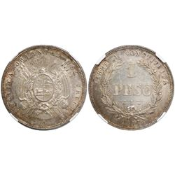 Uruguay (struck in Paris), 1 peso, 1877-A, encapsulated NGC MS 61.