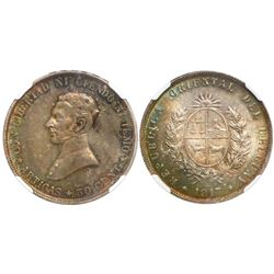 Uruguay, 50 centavos, 1917, encapsulated NGC MS 63.