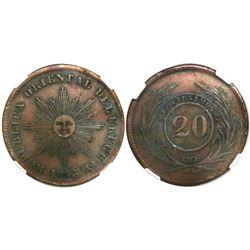 Uruguay, copper 20 centesimos, 1843/40, encapsulated NGC AU 50 BN.