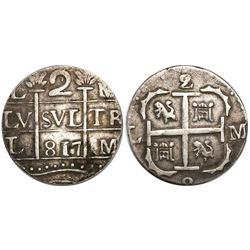 """Caracas, Venezuela, """"imitation cob"""" 2 reales, """"817"""" date (1817), rare."""