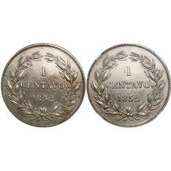 Venezuela, nickel proof pattern 1 centavo, 1852, double reverse, encapsulated NGC PF 62.