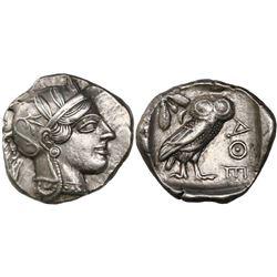 """Attica, Athens, AR tetradrachm, """"owl,"""" 440-404 BC, circa 430 BC."""