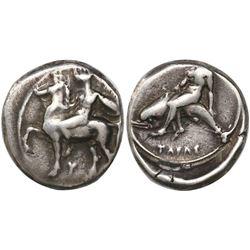 """Calabria, Taras, AR nomos, circa 390-385 BC, """"boy on dolphin."""""""