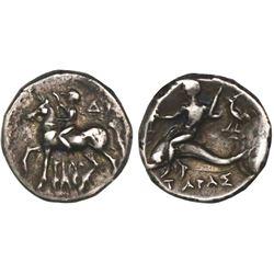 """Calabria, Taras, AR nomos, circa 272-240 BC, """"boy on dolphin."""""""