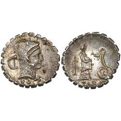 Roman Republic, serrate AR denarius, L. Roscius Fabatus, 64 BC, Rome mint.