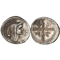 Roman Republic, AR denarius, The Caesarians, Julius Caesar, circa 54-44 BC, moneyer C. Cossutius Mar
