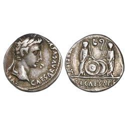 Roman Empire, AR denarius, Augustus, 27 BC-14 AD, Lugdunum (Lyon) mint, struck 2 BC-12 AD.