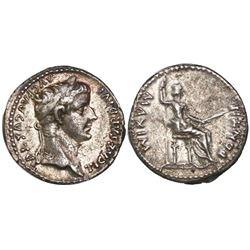 """Roman Empire, AR denarius """"tribute penny,"""" Tiberius,14-37 AD, Lugdunum mint, struck 18-35 AD."""