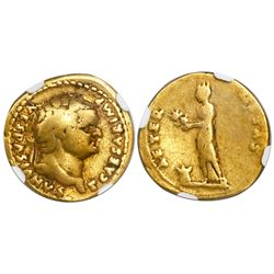 Roman Empire, AV aureus, Titus, 79-81 AD, issued as Caesar, encapsulated NGC F, strike 5/5 and surfa