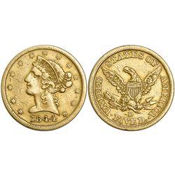USA (Dahlonega mint), $5 coronet Liberty, 1844-D.