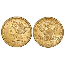 USA (Philadelphia mint), $5 coronet Liberty, 1882.