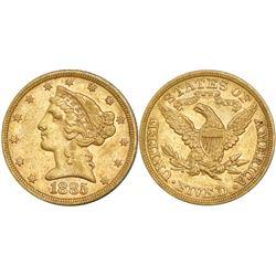 USA (Philadelphia mint), $5 coronet Liberty, 1885.