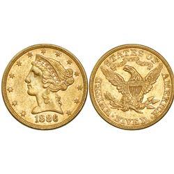USA (Philadelphia mint), $5 coronet Liberty, 1886.