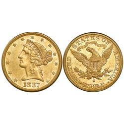 USA (San Francisco mint), $5 coronet Liberty, 1887-S.