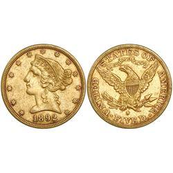 USA (San Francisco mint), $5 coronet Liberty, 1892-S.