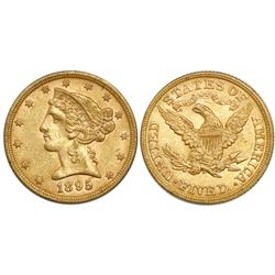 USA (Philadelphia mint), $5 coronet Liberty, 1895.