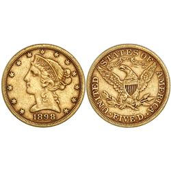 USA (Philadelphia mint), $5 coronet Liberty, 1898.