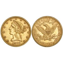 USA (Philadelphia mint), $5 coronet Liberty, 1908.