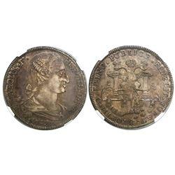 La Plata, Bolivia, 8R-sized silver proclamation medal, 1789, encapsulated NGC AU 50.
