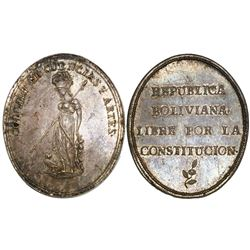 Potosi, Bolivia, oval silver medal, ca. 1825, Arts and Sciences Institute.