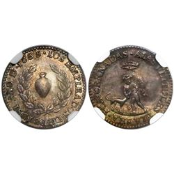 Potosi, Bolivia, 1/2 sol-sized silver medal, 1835, marriage of Santa Cruz and Francisca Cernadas, en