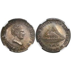 Potosi, Bolivia, 1 sol-sized silver medal, 1842, Battle of Yngavi, encapsulated NGC MS 66, finest an