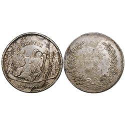 Potosi, Bolivia, large silver medal, 1852, personification of Bolivia / Munoz, rare, ex-Derman.