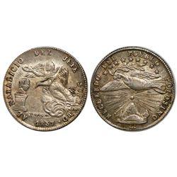 Potosi, Bolivia, 1 sol-sized silver proclamation medal, 1857, Cordova / Linares.