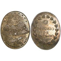 Potosi, Bolivia, oval silver military medal, 1857, Linares / Council of State, ex-Derman.