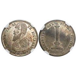Potosi, Bolivia, 1/10 boliviano-sized silver medal, 1864, Melgarejo, encapsulated NGC MS 63, finest
