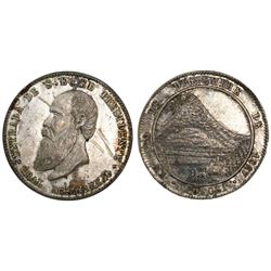 Potosi, Bolivia, 1/2 melgarejo-sized silver proclamation medal, 1867, small-diameter variety, rare.
