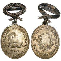 Potosi, Bolivia, oval silver medal, 1876, award for merit.