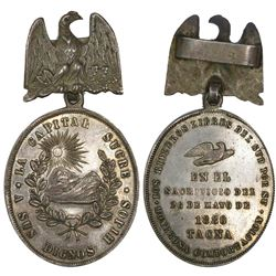 Bolivia, oval silver military medal, 1880, Battle of Tacna.