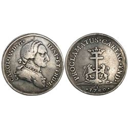 Cartagena, Colombia, silver proclamation medal, Charles IV (bust of Charles III), 1789.