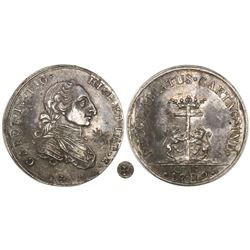 Cartagena, Colombia, silver proclamation medal, Charles IV, 1789, Maltese cross below bust, rare.