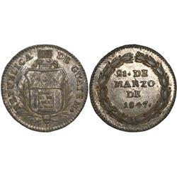 Guatemala, 1R-sized silver medal, 1847, Carrera.