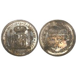 Mexico City, Mexico, 8R-sized silver medal, Charles IV, 1789, proclamation.