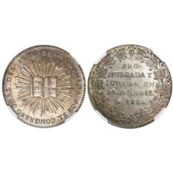 Peru, 1/2 peso-sized silver medal, 1828, congressional approval of Constitution, encapsulated NGC MS