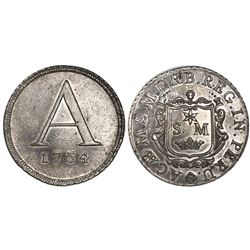 Lima, Peru, 4R-sized silver token, 1754, Academy of San Marcos, rare.