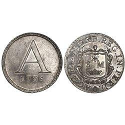 Lima, Peru, 4R-sized silver token, 1754, Academy of San Marcos, rare.