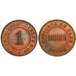 Ponce, Puerto Rico, copper 1 almud hacienda token, Hacienda de Cafe Carmelita, Collazo, Perez Guerra