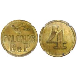 Aragua, Venezuela, brass 4 reales token, undated, Palomas E & P (Eraso and Pereira), encapsulated NG