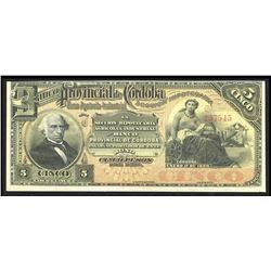 Argentina, Banco Provincial de Cordoba, 5 pesos, 1-1-1889, series C, serial 257545.