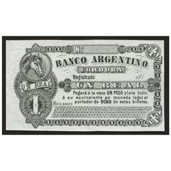 Cordoba, Argentina, El Banco Argentino, 1 real plata boliviana remainder, 187X.
