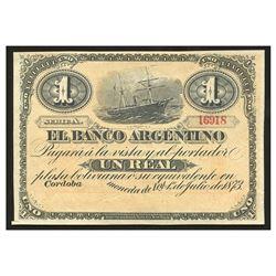 Argentina, El Banco Argentino, 1 real plata boliviana remainder, 1-7-1873, series A, 16918