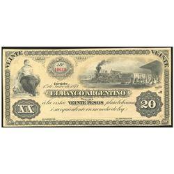 Argentina, El Banco Argentino, 20 pesos plata boliviana remainder, 1-7-1873, series A, serial 10619.