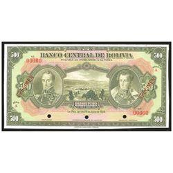 Bolivia, El Banco Central de Bolivia, 500 bolivianos specimen, 20-7-1928, Series A.