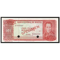 Bolivia, El Banco Central de Bolivia, 100 pesos bolivianos specimen, 13-7-1962, series A.